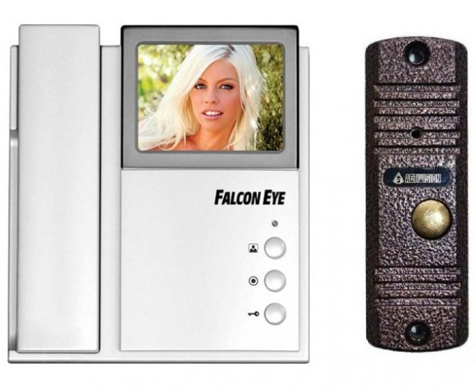 Комплект видеодомофона  Falcon Eye FE-4CHP2 + AVC-305 (PAL) (медь, антик)