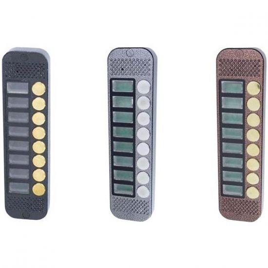 Панель JSB Systems JSB V088K (медь, серебро, бронза, черный, белый, серый, золото, синий) вызывная на 8 абонентов для домофона (без видеомодуля)