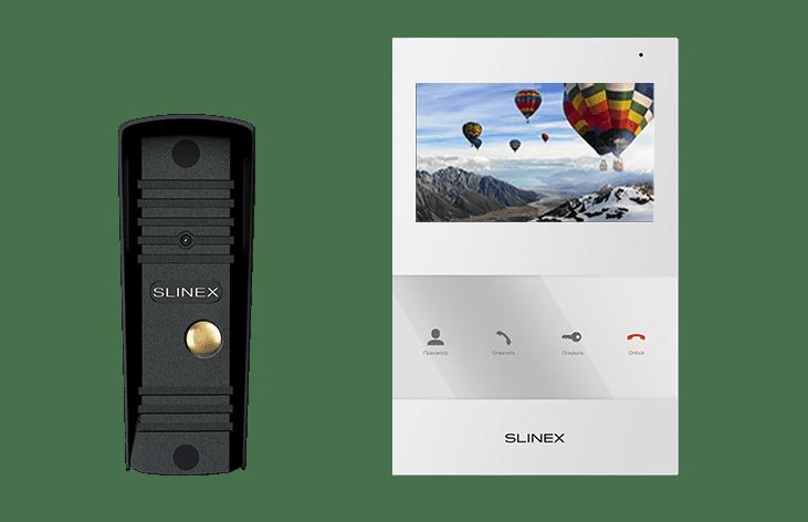Комплект Slinex SQ-04 (черный, белый) видеодомофона с панелью Slinex ML-16HR (черная)